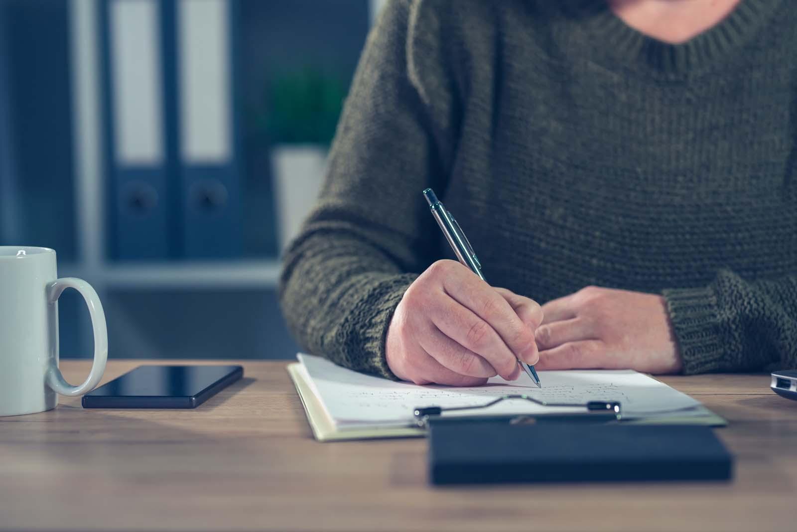 freelancer taking notes