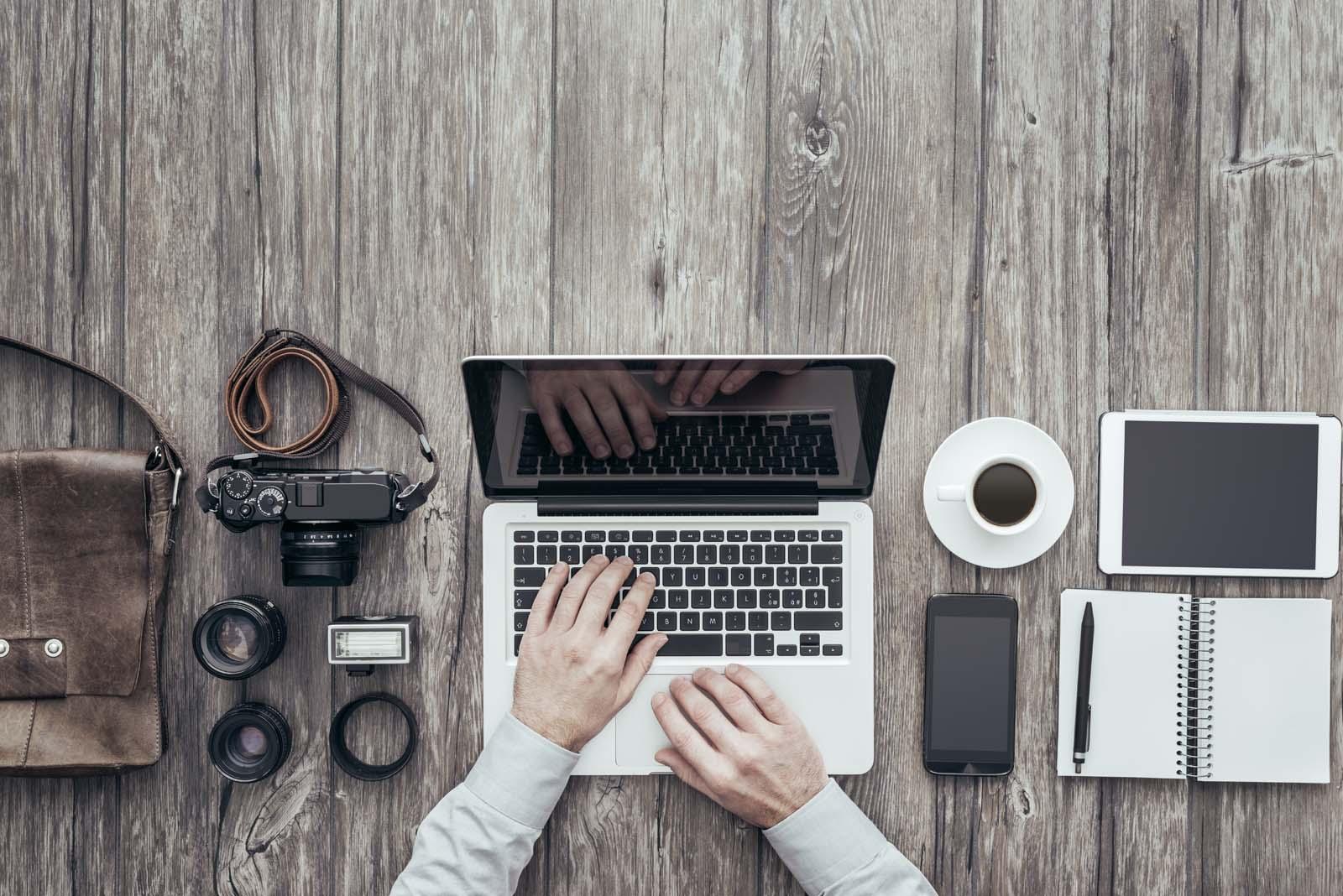 freelance photography desk setup