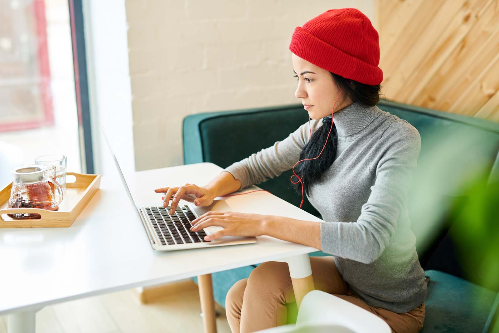 hard working freelance woman on laptop