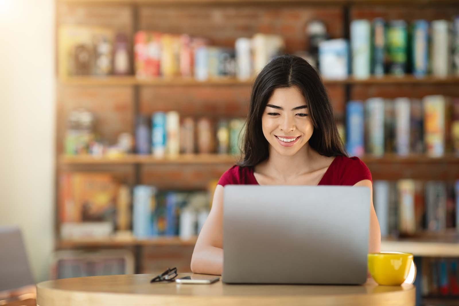 smiling freelance woman