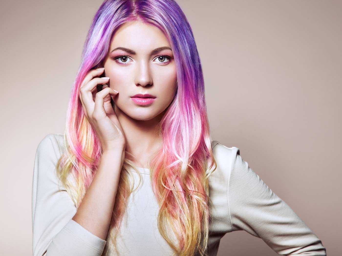 freelance model with pink and purple hair at photoshoot